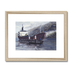 Cargo Boat On The Seine Framed & Mounted Print