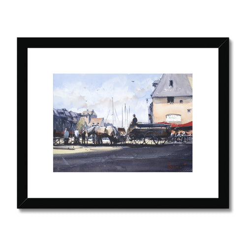 Horses And Carriage In Honfleur Framed & Mounted Print