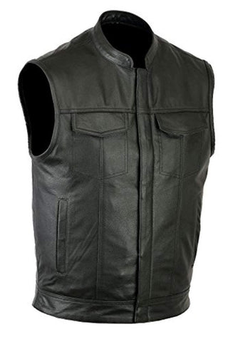 SOA Style Genuine Leather Motorcycle Vest