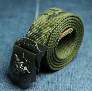 Skull Canvas Woven Military Belt