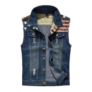 American Flag Washed Jeans Vest - Metal Gods