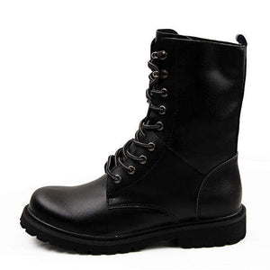 Aleader Waterproof Leather Men Boots Big Size Winter Men Motorcycle Mid-Calf Martin Boots Casual Botas Military Boots Zapatos -  - Metal Gods
