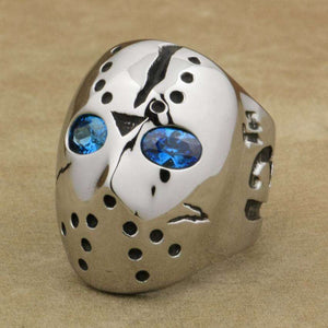 Stainless Steel Friday 13th Jason Mask Hockey Blue Eyes Ring