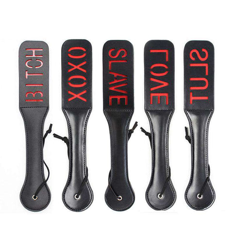 Love Slave Bitch Slut Xoxo SM Spank Leather Paddles - BDSM - Metal Gods