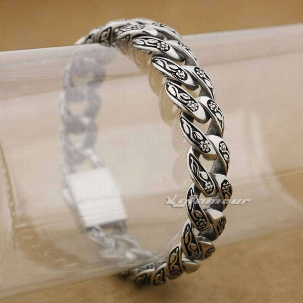 316L Stainless Steel Rose Flower Link Chain Bracelet - Metal Gods