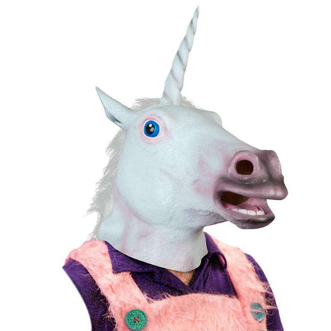 Halloween Suppliers Accoutrements Magical Unicorn Mask Latex Animal Costume Prop Toys Party Halloween Free Shipping - Mask - Metal Gods