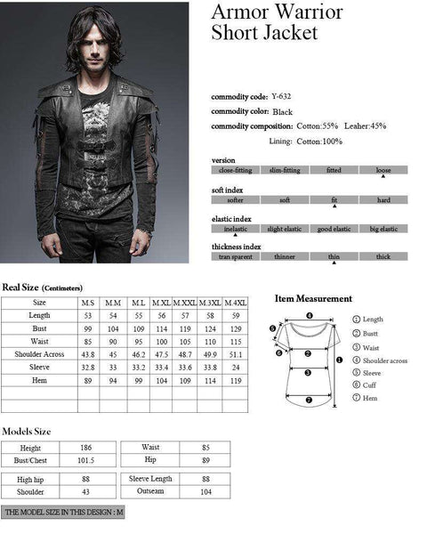 Armor Warrior Men's Short Jacket - Metal Gods