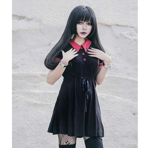 Gothic Red Skull Buttons Dress