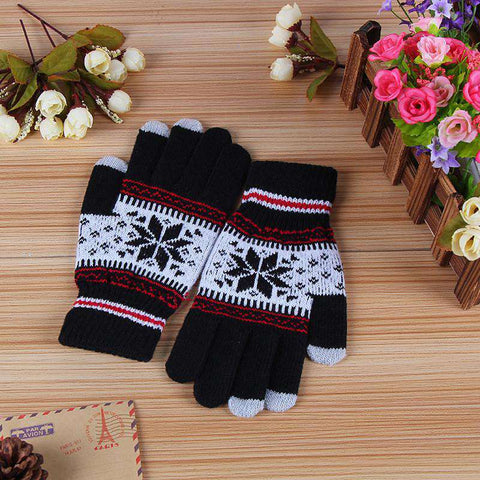 Women Knit Gloves Mittens Touchscreen Glove