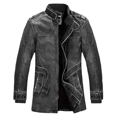Standing Collar Washed PU Leather Jacket - Jacket - Metal Gods