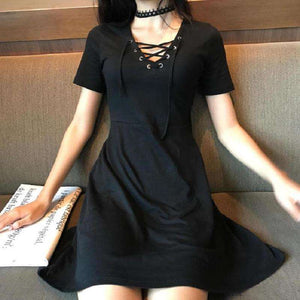 Gothic Women's V-Neck Dress