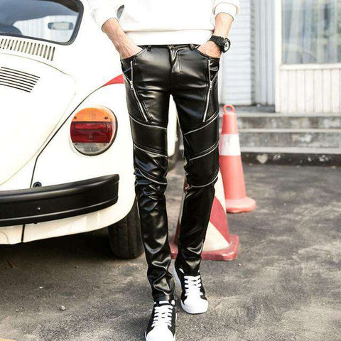 Skinny Men Faux Leather Pants - Pant - Metal Gods