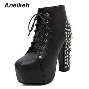 Platform Spikes Rivets Ankle Boot - Boots - Metal Gods