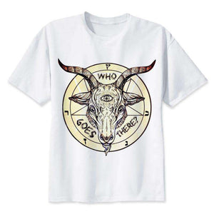 3 Eyes Goat Satanic White T Shirt - Metal Gods