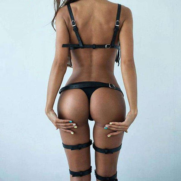 Sexy Leather Top Bra + Waist Thigh Leg Suspenders Harness - harness - Metal Gods