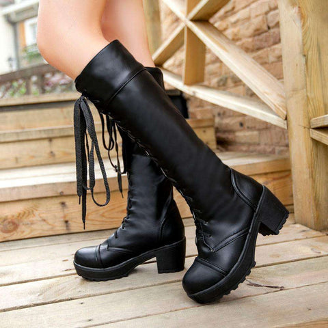 Womens Lace Up Knee High Soft Leather Boots
