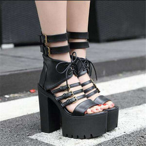 Sexy Gothic Strappy Lace Up Gladiator Platform Sandal - Shoes - Metal Gods