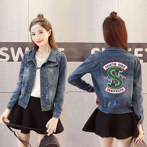 Women Denim Jacket Riverdale South Side Serpents