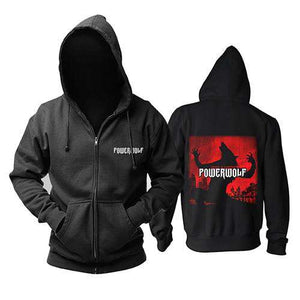 Powerwolf black zip Hoodies