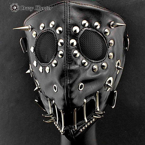 Full Face Studded Synthetic Leather Mask - Mask - Metal Gods