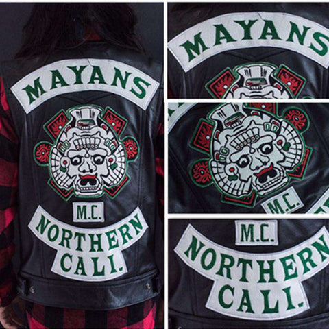 new Mayans MC Vest with green lettering patches