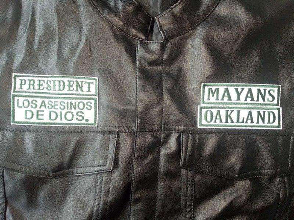 new Mayans MC green lettering patches
