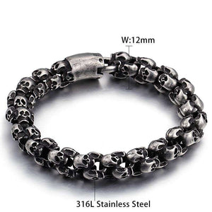 Stainless Steel Brushed Skull Charm Bracelets