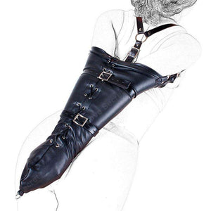 PU Leather Over Shoulder Arm Binder Restraint Glove - BDSM - Metal Gods