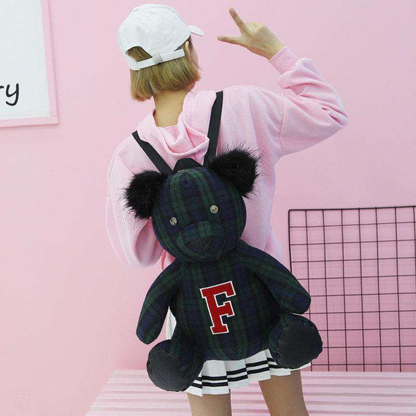 40 cm Plush Plaid Bear Backpack - Metal Gods