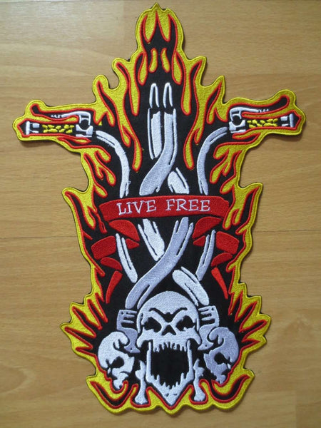 9.4 x 12.8 inches Flames Bike Skulls Embroidered Back Patch - Metal Gods