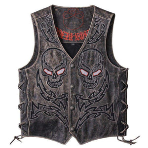 ca803d98a10c9 Bikers Vintage Black Skulls Embroidery Genuine Leather Vest