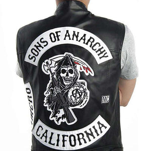Sons Of Anarchy Embroidered Patches PU Leather Vest