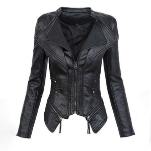 Woman Gothic Faux Leather Motorcycle Jacket