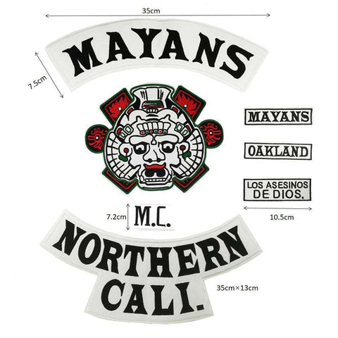 7 pcs MAYANS MC Embroidered Biker Patches - Metal Gods