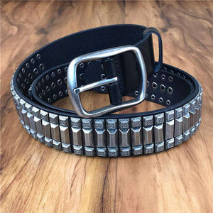 Heavy Metal Rivet Genuine Leather Belt