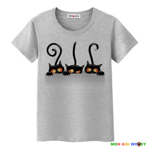 T-shirt gris chat malicieux - mon ami Woody