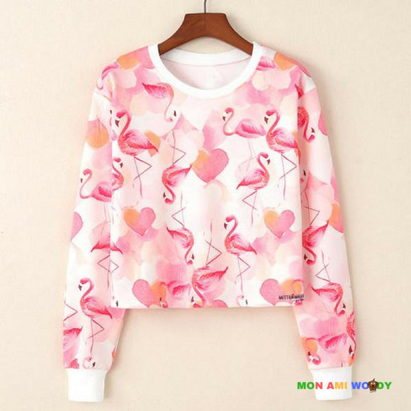 Pull court blanc col rond - flamant rose - Mon ami woody
