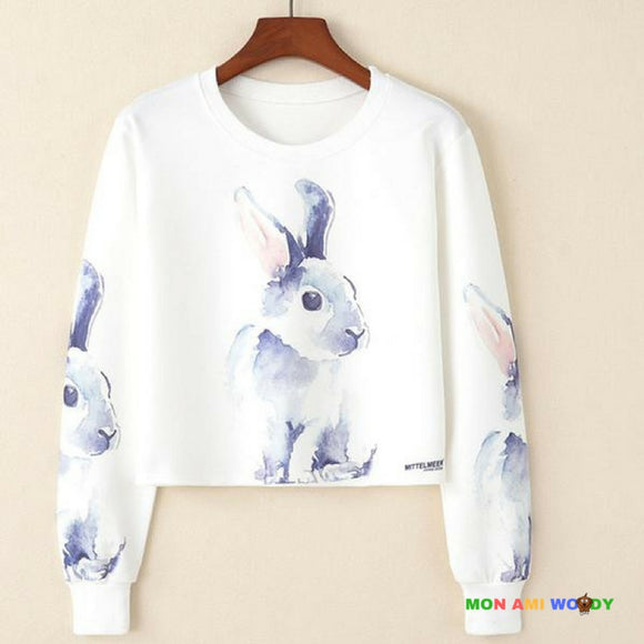 Pull court blanc col rond - lapin - Mon ami woody