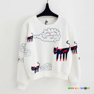 Pull court gris col rond - chats bande dessinée - Mon ami woody