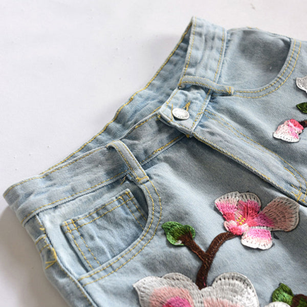 Summer Floral Embroidery Denim Shorts