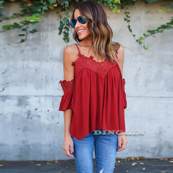Off Shoulder Chiffon Lace Embroidered