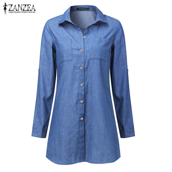 Women Lapel Neck Button Down Long Sleeve Shirt Dress Denim