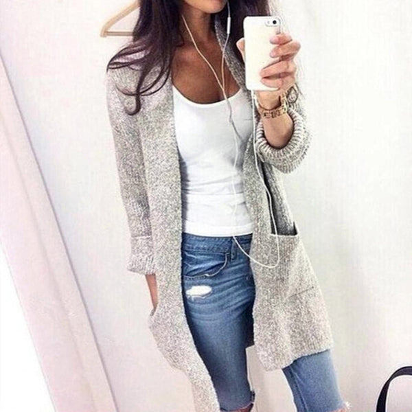 Women Long Sleeves Grey Cardigan Knitwear