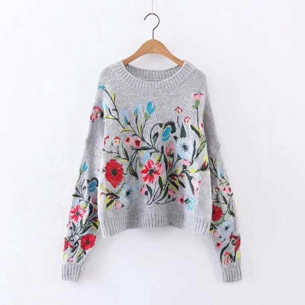 Womens Vintage Winter Sweaters Wool Flora Embroidery