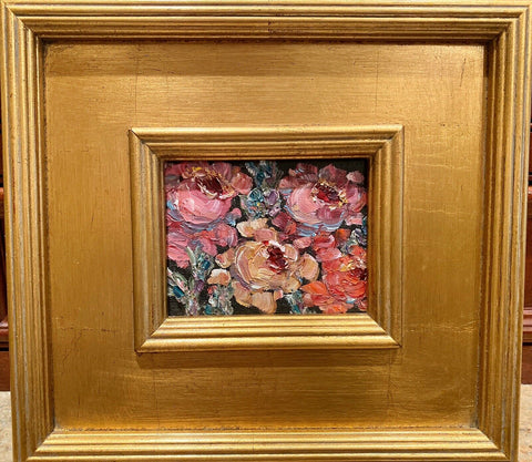 KADLIC Poppies Still Life Original Oil Table Painting Gold Gilt Frame 10""