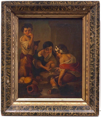 Beautiful 19th C Antique Original Tin Oil Painting Gilt Wood after MURIELLO