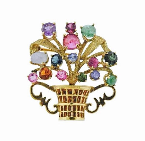 Stunning Retro 14k Gold Cartier Gemstone Tourmaline Sapphire Pin Pendant Brooch