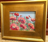 "KADLIC Red Floral Poppies Poppy Original Oil Painting 9x13"" Gold Gilt Frame"