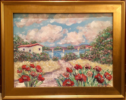 "KADLIC Red Poppies Poppy Seascape Original Oil Painting 18x24"" Gold Gilt Frame"