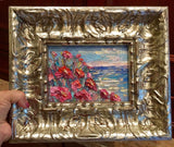 "KADLIC Abstract Pink Flowers Art Seascape Original Oil Painting 10"" Silver Frame"